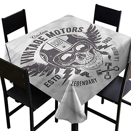 haommhome Waterproof Tablecloth Skull Rider Motorbike Racing Theme Table Decoration W63 xL63 for Kitchen Dinning Tabletop Decoration ()