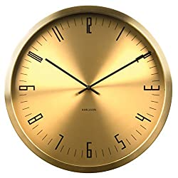 Karlsson KA5612GD 44x 44x 5cm Cased Index Stainless Steel Metal Wall Clock, Gold