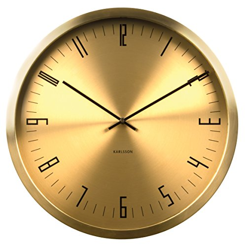 Karlsson KA5612GD 44x 44x 5cm Cased Index Stainless Steel Metal Wall Clock, ()
