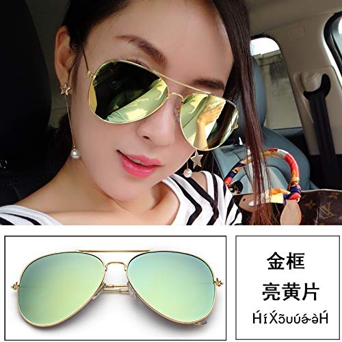 korea polarized sunglasses men man sunglasses women girls influx 2018 round face reflecting yurt star style personality (bright yellow gold frame sheet [uv]