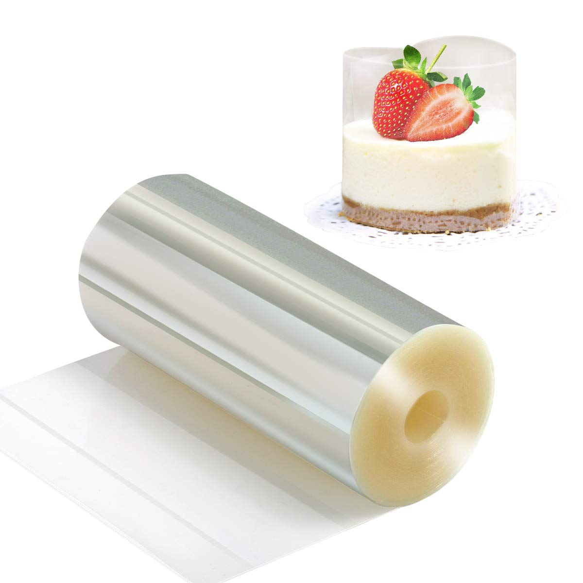Cake Collars 3.9 x 394inch, Picowe Acetate Rolls, Clear Cake Strips, Transparent Cake Rolls, Mousse Cake Acetate Sheets for Chocolate Mousse Baking, Cake Decorating