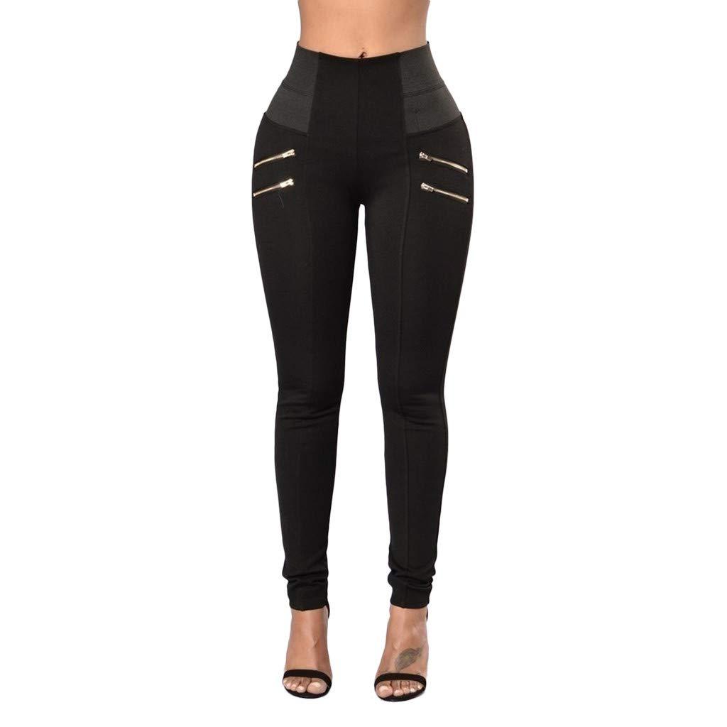 Workout Shorts for Women Plus Size Cotton, Yoga Pants for Women Large,Womens Leggings Elastic Trousers Thin Zipper Solid Mid-Calf Plus Size Pants by Makeupstory (Image #3)