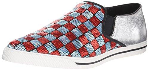 Marc Jacobs Women's Delancey Slip On Fashion Sneaker, Aqua/Red, 39 EU/9 M US