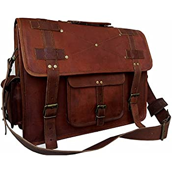 Amazon.com: VINTAGE COUTURE 16 Inch leather messenger bags for men ...