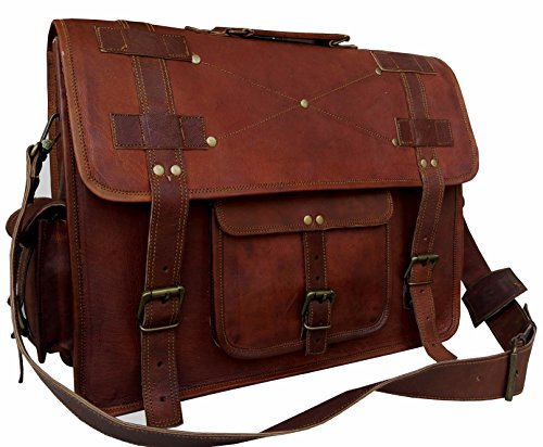 - 16 Inch Leather Messenger Bags for Men Women Mens Briefcase Laptop Bag Best Computer Shoulder Satchel School Distressed Bag