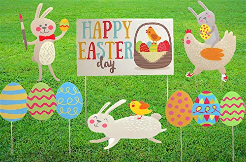 Easter Yard Signs - 6-Piece Easter Egg Yard Skates Lawn Decoration in Corrugated Plastic Weatherproof with 6 Signs 12 Stakes - Easter Garden Outdoor Decoration for Party Decor