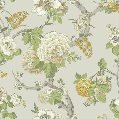 AD1218 Yellow Cream Jacobean Floral On Soft Metallic Grey Wallpaper