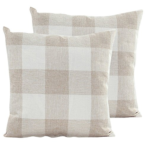 famibay Throw Pillow Covers Square Tartan Checkers Cotton Linen Pillow Cases Decorative Pillow Cushion Covers for Home Sofa Couch Bed 18X18 Inch Pack of 2