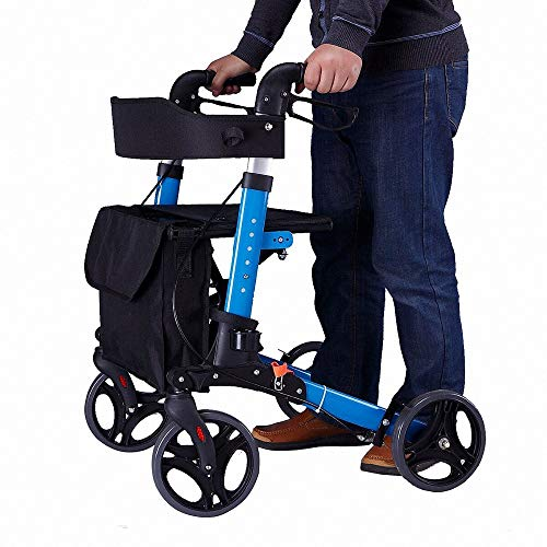 Folding Rollator Walking Frame with Padded Seat, Lockable Brakes, Ergonomic Handles for Easy Storage and Transportation