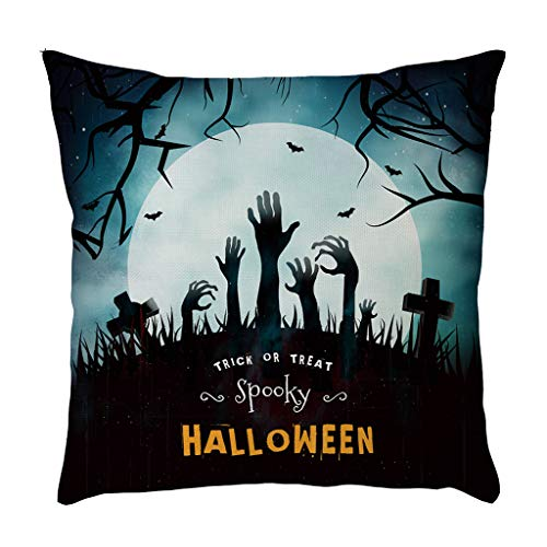 Jocome Throw Pillow Case,Halloween Pillow Cases Linen Pumpkin Ghosts Cushion Cover Home Decoration Waterproof Mudcloth Poang Neck Roll Floral Travel Easter Cotton Furry Burlap -