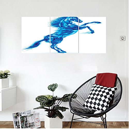 s Animal Decor Wall Hanging Digital Illustration of Fire House Rearing Up Blazing Devilish Moving Freely Theme Bedroom Living Room Decor White Dark Blue (Blazing Bucket)