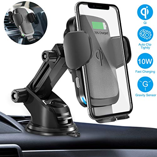 Wireless Car Charger Mount, Cshidworld Auto Clamping 10W/7.5W Qi Fast Charging Car Mount, Windshield Dashboard Air Vent Phone Holder Compatible with iPhone Xs Max XR 8 Plus, Samsung S10 S9 - Large Wireless Holder