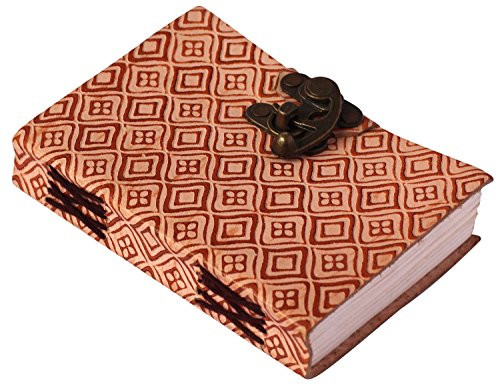 SouvNear Leather Writing Journal Notebook / Travel Diary - Handmade Embossed Pink and Brown - Sketchbook / Journal To Write In / For Men / Women