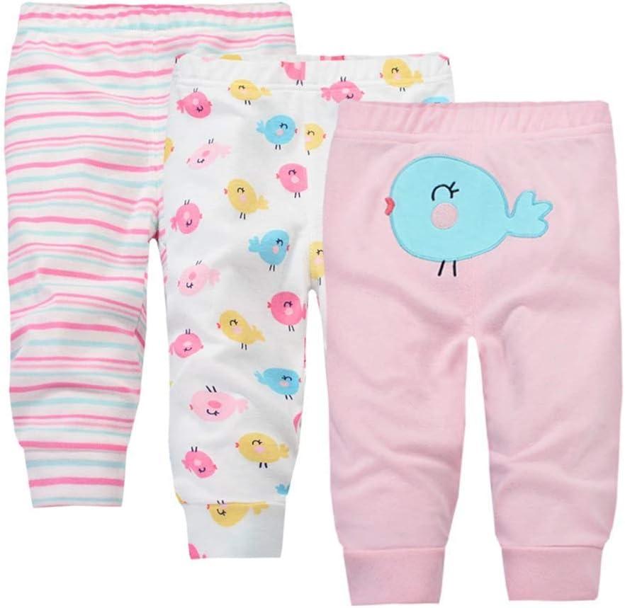Bambino Legging 3 Pezzi Pantaloni in Cotone Ragazze Ragazzi Lungo Pantaloni Simpatico Cartone Animato per Gattonare Strisciando Set Regalo 6-12 Mesi
