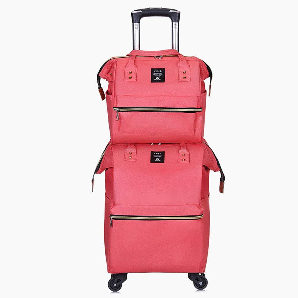 子荷物バッグ、ファッション車輪付きバックパック、オックスフォードブレーキバッグポータブル軽量ショルダーバッグ、ビジネス休暇旅行ショッ B07TH1DQXL Pink