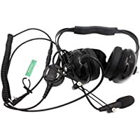 SUNDELY® Headset/Earpiece with Boom Mic Big PTT Button Coiled Cord Electronics Communications Rugged NASCAR For Baofeng Racing Radio Walkie Talkie 2-pin