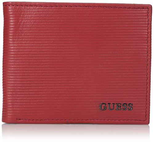 Guess Men's Leather Slim Bifold Wallet, red, One Size