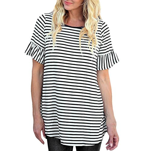 Qisc Womens Tops Women's Round Neck Short Ruffle Flare Sleeve Tops Striped Casual Blouses T Shirt (XL, Black) (Wear Tights Colored)