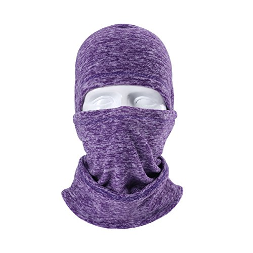 Triwonder Balaclava Hood Hat Thermal Fleece Face Mask Neck Warmer Winter Ski Mask Full Face Cover Cap (Purple - (Cap Balaclava)