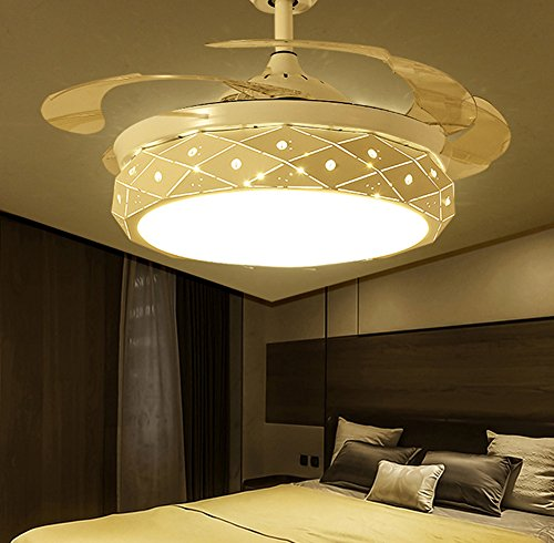 Yue Jia 42 Inch Promoting Natural Ventilation White Invisible Fan Modern Luxury Dimmable (Warm/Daylight/Cool White) Chandelier Foldable Ceiling Fans With Lights Ceiling Fans with Remote Control by YUEJIA (Image #4)