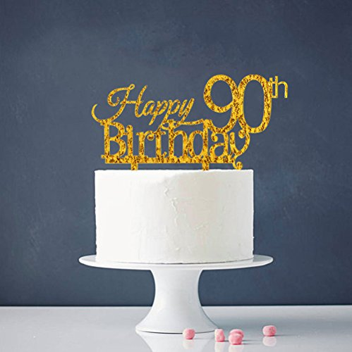 Image Is Loading Happy 90Th Birthday Cake Topper Gold Party Decoration