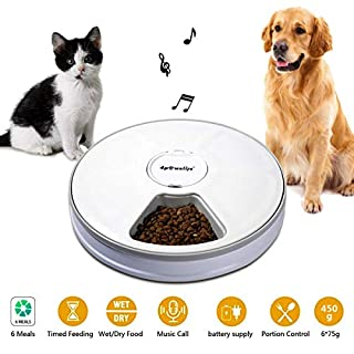 4pawslife 6 Meal Automatic Pet Feeder Food Dispenser with Digital Timer and Music Broadcast for Cats and Dogs