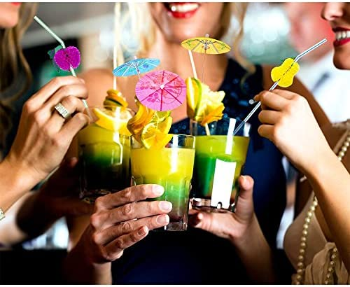 WENTS Cocktail Dekoration Papier Getränk Sonnenschirme Getränk Sonnenschirme für Cocktail Tropical Drinks Fruchtetikett Weinetikett Verschiedene 144pcs