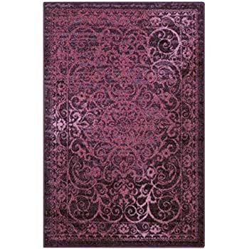 Maples Rugs Pelham Vintage Area Rugs for Living Room & Bedroom [Made in USA], 5 x 7, Wineberry Red