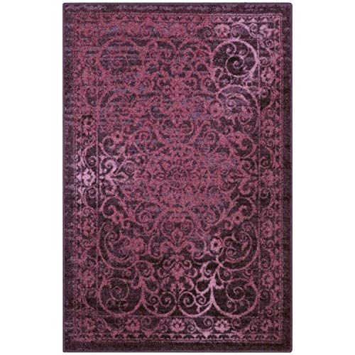 Maples Rugs Pelham 7 x 10 Large Area Rugs [Made in USA] for Living, Bedroom, and Dining Room, Wineberry Red (In Rug Room Living Red)