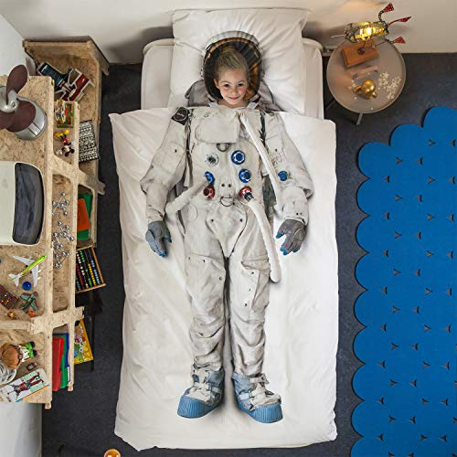 SNURK Duvet Cover Set Duvet Cover with Matching Pillowcase – 100% Cotton Duvet Cover and Pillow Case Set for Kids – Soft Cover Bedding for Your Little One – Life Size Astronaut for Twin-Size Beds