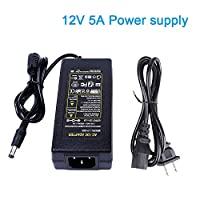 AC 100V-240V To DC 12V 5A US Plug Switching Power Supply Adapter For PC Power Cord RGB LED strip Light LCD Monitor DC Converter Power Transformer DVR NVR Security Cameras System CCTV Accessories