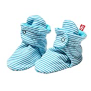 Zutano Unisex-Baby Newborn Candy Stripe Booties, Pool, 3 Months