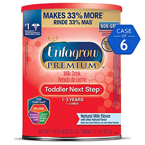 Enfagrow PREMIUM Toddler Next Step, Natural Milk Flavor - Powder Can, 32 oz (Pack of 6)