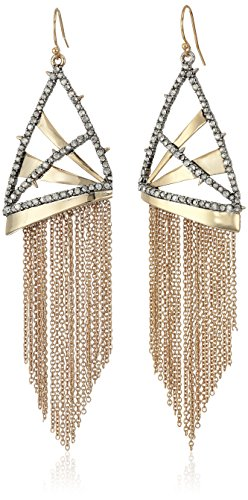 Alexis Bittar Chain Fringe Wire Earrings, 10K Gold with Antique Rhodium Accents, One Size
