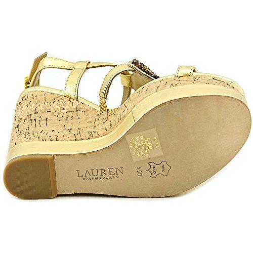 Lauren by Ralph Lauren Frauen Mattie Offener Zeh Leger Platform Sandalen Gold