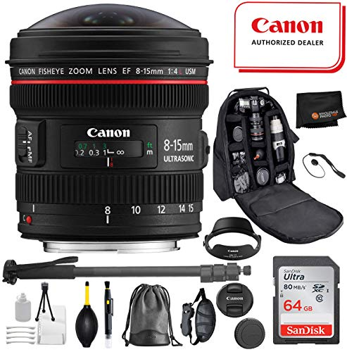 Canon EF 8-15mm f/4L Fisheye USM Lens with Professional Bundle Package Deal Kit for EOS 7D Mark II, 6D Mark II, 5D Mark IV, 5D S R, 5D S, 5D Mark III, 80D, 70D, 77D, T5, T6, T6s, T7i, SL2