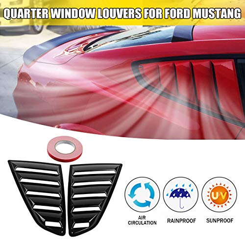 (Star-Trade-Inc - 2pcs Car Quarter Side Rear Window Louvers Scoop Cover Five Slot Open Louvers Cover Vent For Ford For Mustang Fastbacks)