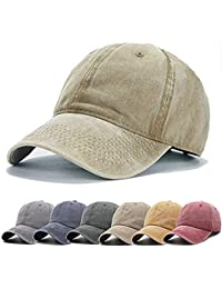 057263b9a50f1 Men Women Baseball Cap Vintage Cotton Washed Distressed Hats Twill Plain  Adjustable Dad-Hat