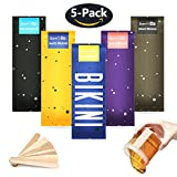 SanSiDo 17.63oz Brazilian Bikini Wax Hard Wax Beans Hair Removal Hot Wax Beads Painless Natural Ingredients Wax 5 Packs for Women and Men