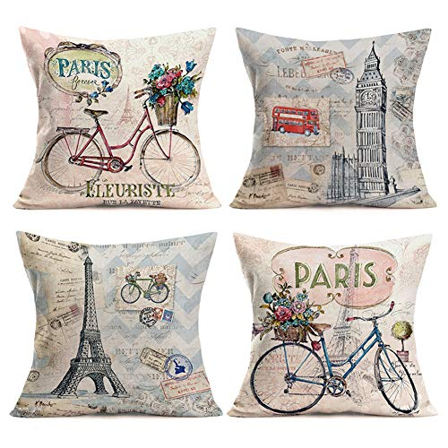 Smilyard Paris Eiffel Pillows Decorative Pillow Covers Vintage Bicycle with Color Flower Throw Pillow Case Cotton LinenFrench Decor Rustic Cushion Cover for Sofa Couch 18x18 Inch 4Pack(France Set) (Pillow French)