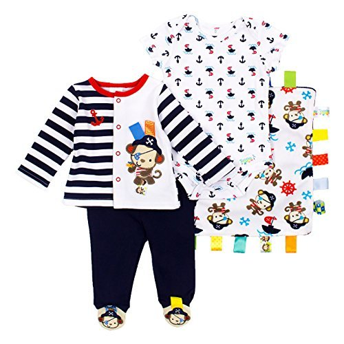 Taggies Baby Boys 3-Piece Set 6 Months Blue, Brown, Red & White