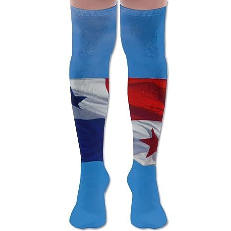 Bandera de Panamá en azul cielo poliéster algodón sobre la rodilla pierna alta calcetines divertidos unisex
