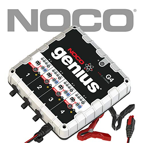 - NOCO Genius G4 6V/12V 4.4 Amp 4-Bank Advanced Battery Trickle Charger Maintainer