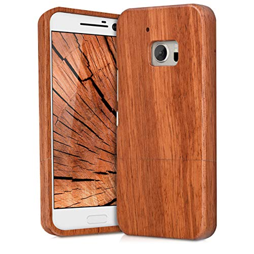 kwmobile HTC 10 Wood Case - Non Slip Natural Solid Hard Wooden Protective Cover for HTC ()