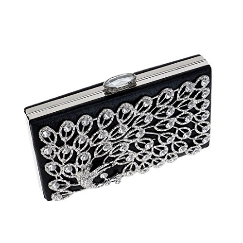 Peacock Color Wedding Dress Clutch Banquet Bag KERVINFENDRIYUN Black Party Bag Diamonds Evening Purse Ladies Black 7C8qdBw