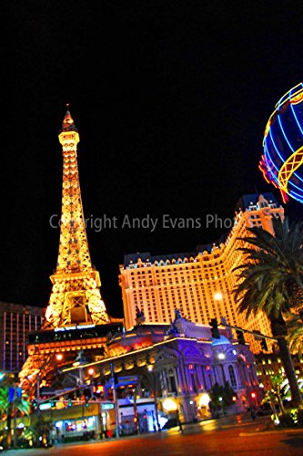 """Eiffel Tower Photograph a 12""""x18"""" Photographic Print of Eiffel Tower Paris hotel at night in Las Vegas America portrait photo color picture fine art print photography by Andy Evans Photos"""