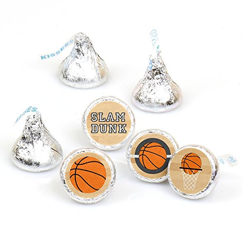 Nothin' But Net - Basketball - Party Round Candy Sticker Favors - Labels Fit Hershey's Kisses (1 sheet of - Basketball Treat Bags