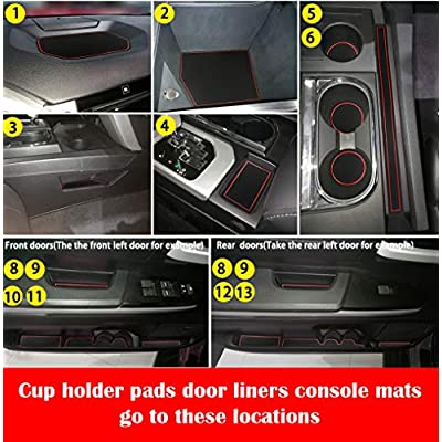 Auovo Anti-dust Door Mats for 2014-2020 Toyota Tundra Door Cup Center Console Liners Interior Accessories (Pack of 24, Red,Upgrade): Automotive