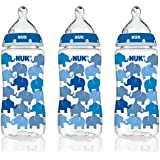 NUK 14074 Elephants Baby Bottle with Perfect Fit Nipple, Medium Flow, 10 Ounces, 3 Pack