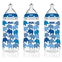 NUK 14074 Elephants Baby Bottle with Perfect Fit Nipple, Medium Flow, 10 Ounc...